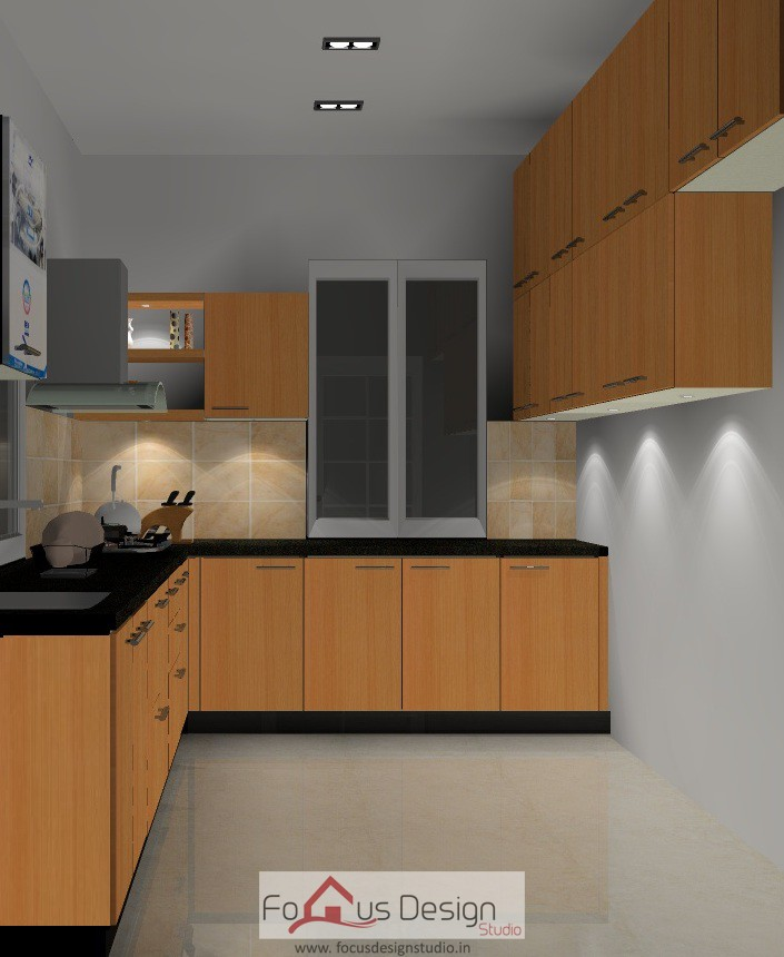 Modular Kitchen With Shelves